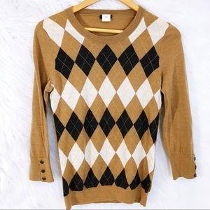 J Crew argyle merino wool 3/4 sweater